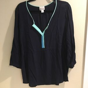 Stylus navy blue sheer 3/4 sleeve with buttons L